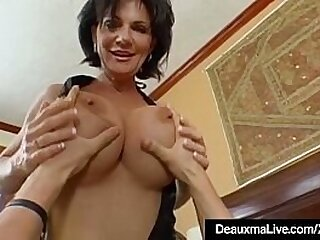 Sexy Cougar Deauxma Squirts Her Pussy Juice While Being Ass Banged by her boy toy who then cums all over her throbbing pussy! Hot Mature & Young Sex Clip!