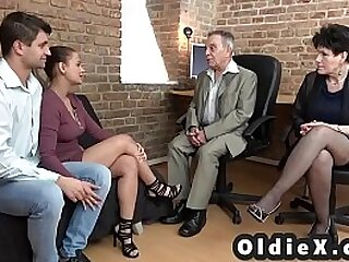 Teen couple gets one-on-one training from elderly lovers