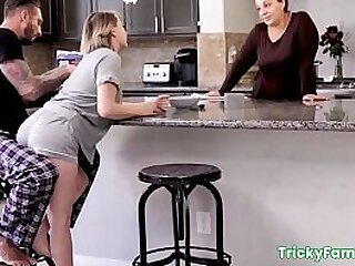 Big booty blondie stepdaughter teen, gets punish fucked and tricked into sex with stepdad in front stepmom