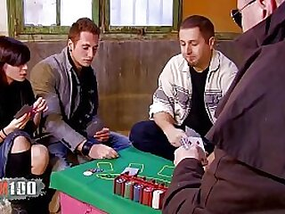 Hot spanish pornstar Aris Dark playing cards and loosing against Terry Kemaco
