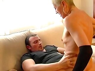 In the brothel mature cares for inexperienced young guy.