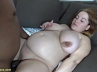 bbw redhead girl gets extreme rough and deep interracial big cock stepdad banged in the ninth month of her pregnancy