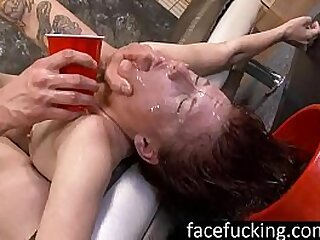 Face Fucked Chastity Mae Licks Man Ass