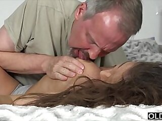 Teen gets super hard fucked in her ass by 2 old men and takes facial