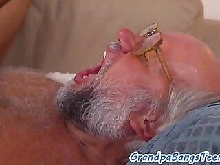 Perfect babe fucks oldman