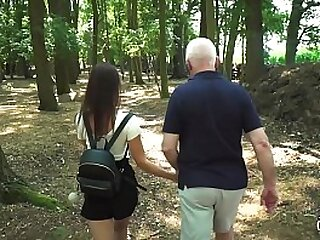 After school walk turns into hardcore fuck session in public old young