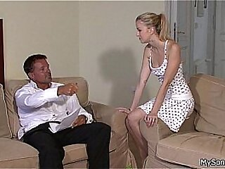 Czech blonde takes old man big cock