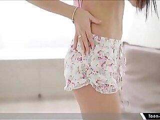 Beautiful teen Chloe masturbates through her sheer panties with sex toy