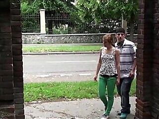 Daring public street sex threesome orgy with cute y. girl Alexis Crystal