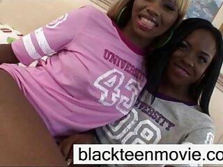 Ebony teen threesome fuck